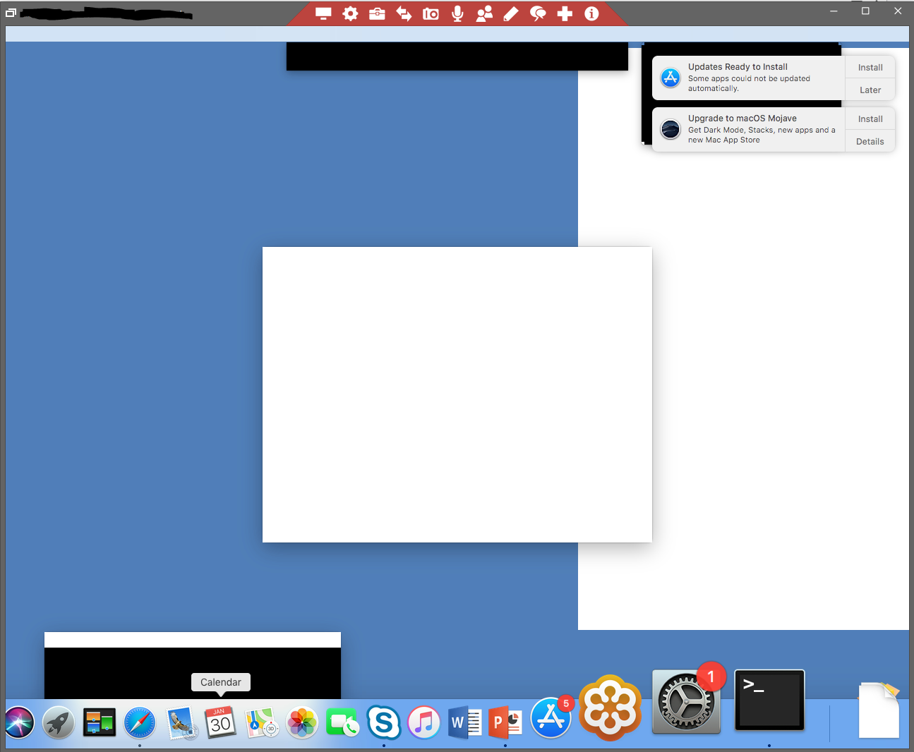 OSX Blank Dialog Boxes and missing top menu / Bug Reports